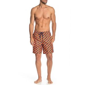 Elastic Drawstring Printed Swim Trunks