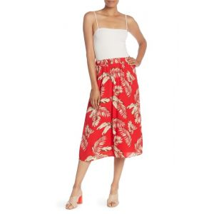 Textured Printed Midi Skirt