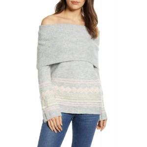 Fair Isle Convertible Cowl Neck Sweater