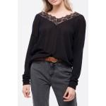 V-Neck Lace Trim Front Knit Top