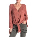 Front Tie Bell Sleeve Knit Top