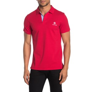 Contrast Placket Embroidered Logo Knit Polo