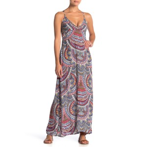 Places to Be Mixed Print Maxi Dress