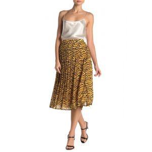 Zebra Stripe Print Pleated Midi Skirt