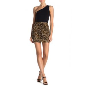 Leopard Print Lace-Up Mini Skirt