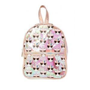 Rose Gold Iridescent Clear Unicorn Print Backpack (Little Girls & Big Girls)