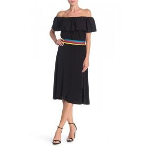 Colorblock Trim Faux Wrap Skirt