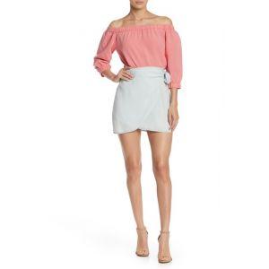 Chambray Wrap Tie Mini Skirt