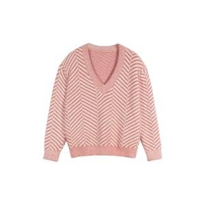 Diagonal Stripe Chenille V-Neck Sweater