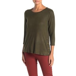 Fleece Side Button Pullover Sweater (Regular & Petite)