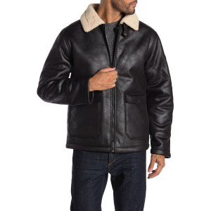 Bonded Faux Leather & Faux Shearling Jacket
