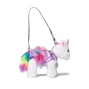 Twinkle the Unicorn Faux Fur Trimmed Shoulder Bag