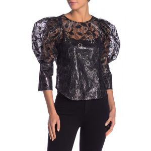Lace 3/4 Puff Sleeve Blouse