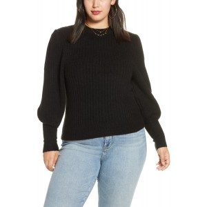 Ribbed Puff Shoulder Sweater