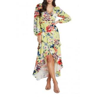 Asymmetrical Ruffle Floral Print Midi Dress