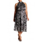 Metallic Floral Midi Dress (Plus Size)