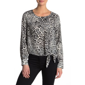 Tie Front Long Sleeve Blouse