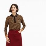 Womens LIVE Boxy Fit Leopard Print Cotton Interlock Polo