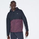 Mens SPORT Hooded Bi-Material Colorblock Tennis Jacket