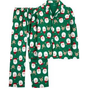 2-Piece Adult Christmas Coat-Style Fleece PJs
