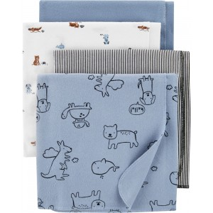 4-Pack Whale Receiving Blankets
