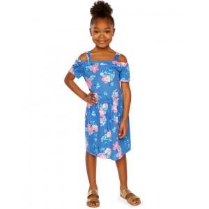 Cold Shoulder Tropical Floral Dress