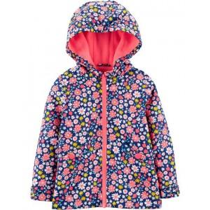Floral Fleece-Lined Raincoat