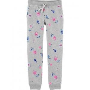 Logo Fleece Floral Pants