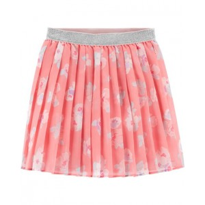 Pleated Chiffon Floral Skirt