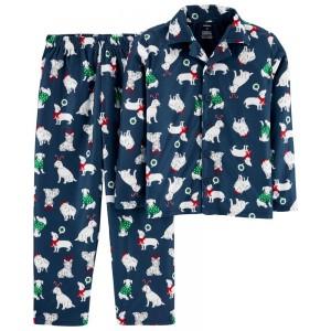 2-Piece Christmas Dog Coat Style Fleece PJs