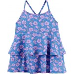 Double Ruffle Purple Floral Top