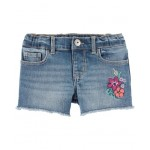 Embroidered Floral Denim Shorts