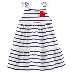 Navy Striped Jersey Dress