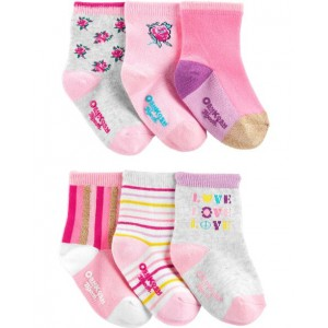 6-Pack Flower Crew Socks