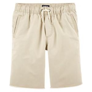 Raw Hem Pull-On Shorts, Khaki