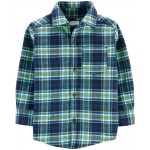 Plaid Twill Flannel Button-Front Shirt