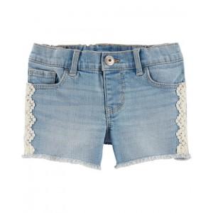 Crochet Trim Denim Shorts