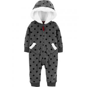 Hooded Polka Dot Fleece Jumpsuit