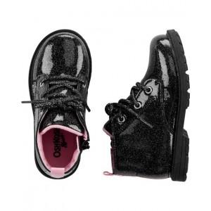 OshKosh Black Glitter Combat Boots