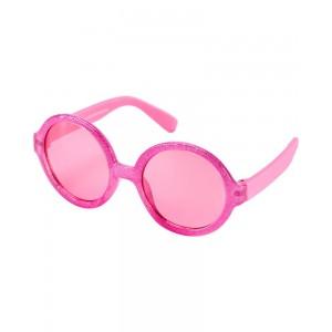 Pink Glitter Round Sunglasses