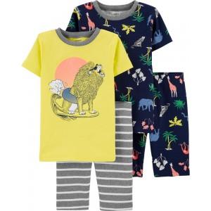 4-Piece Lion Snug Fit Cotton PJs