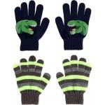 2-Pack Glow-In-The-Dark Dinosaur Gripper Gloves