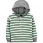 Striped Thermal Hooded Tee