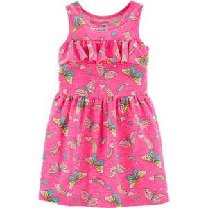 Neon Ruffle Butterfly Dress