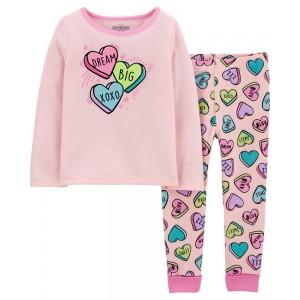 2-Piece Snug Fit Candy Heart PJs