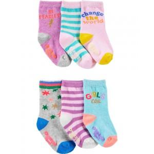 6-Pack Girl Power Crew Socks