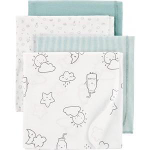 4-Pack Clouds Receiving Blankets