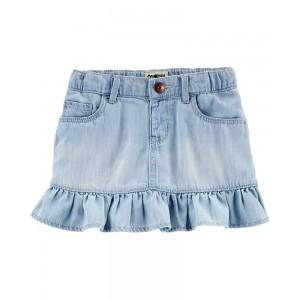Ruffle Hem Denim Skirt