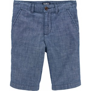 Chambray Flat-Front Shorts