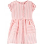 Striped Button-Front Shirt Dress